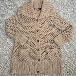 Talbots Long Cream Hand-knit Sweater  Sz L